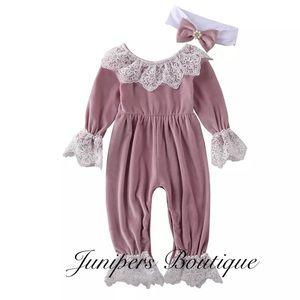Boutique Baby Girls Pink Velvet Romper
